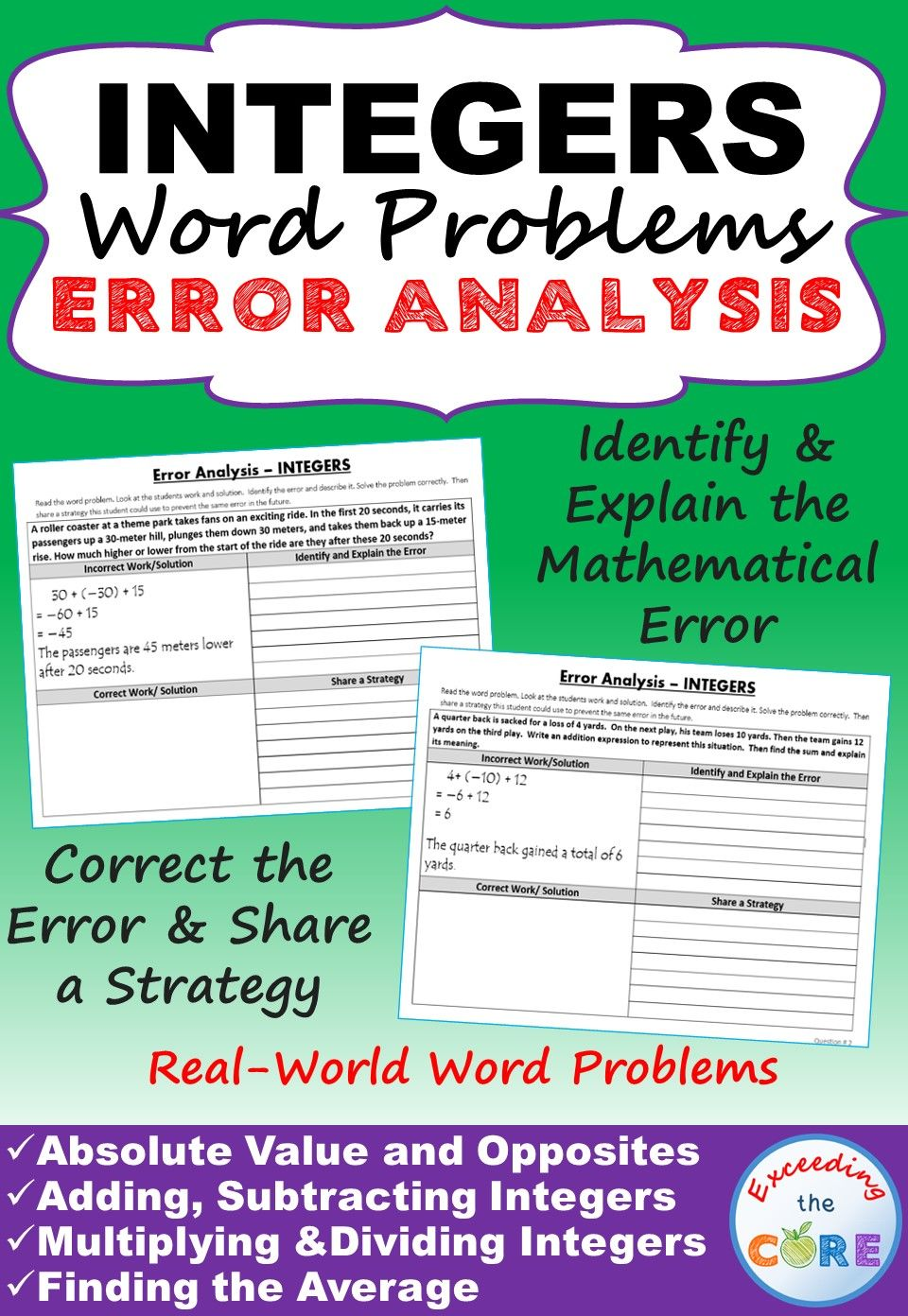 INTEGERS Word Problems - Error Analysis Have your students apply their  understanding of INTEGERS wi…   Integers word problems [ 1392 x 960 Pixel ]
