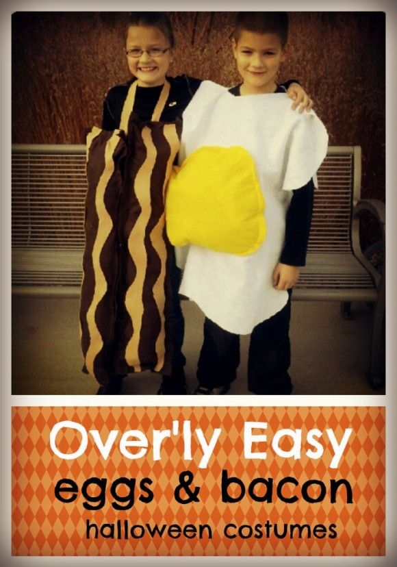Eggs and Bacon Halloween Costume for Kids or Couples (DIY / EASY)  sc 1 st  Pinterest & Eggs and Bacon Halloween Costume for Kids or Couples (DIY / EASY ...