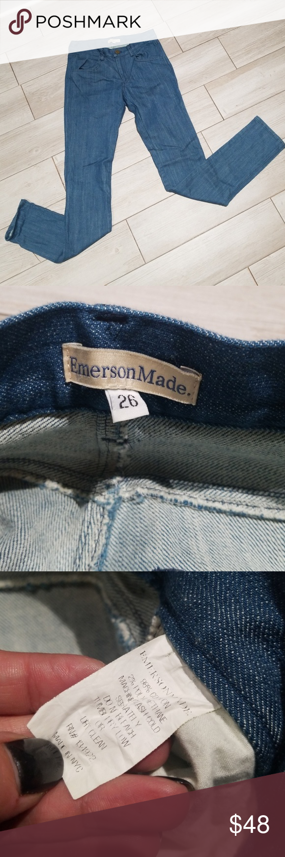 NWOT Emerson Fry / Emersonmade denim Jean's sz. 26 These are new without tags  Emersonmade  Size 26 From The Emerson Fry company Made in NYC  Excellent new condition   Measures  14 across waist  17.5 across hips  8 rise 32.5 inseam 40.5 overall length Emerson Fry Jeans Skinny #emersonfry