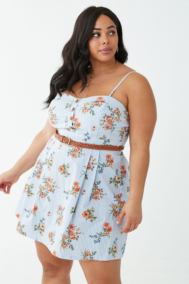 bdff8685be80 Plus Size Striped Floral Print Mini Dress in 2019 | Fashionista ...