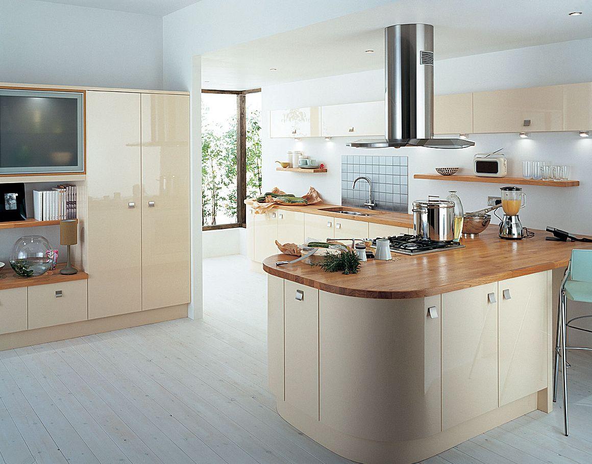 cream gloss kitchen with wooden worktop Google Search
