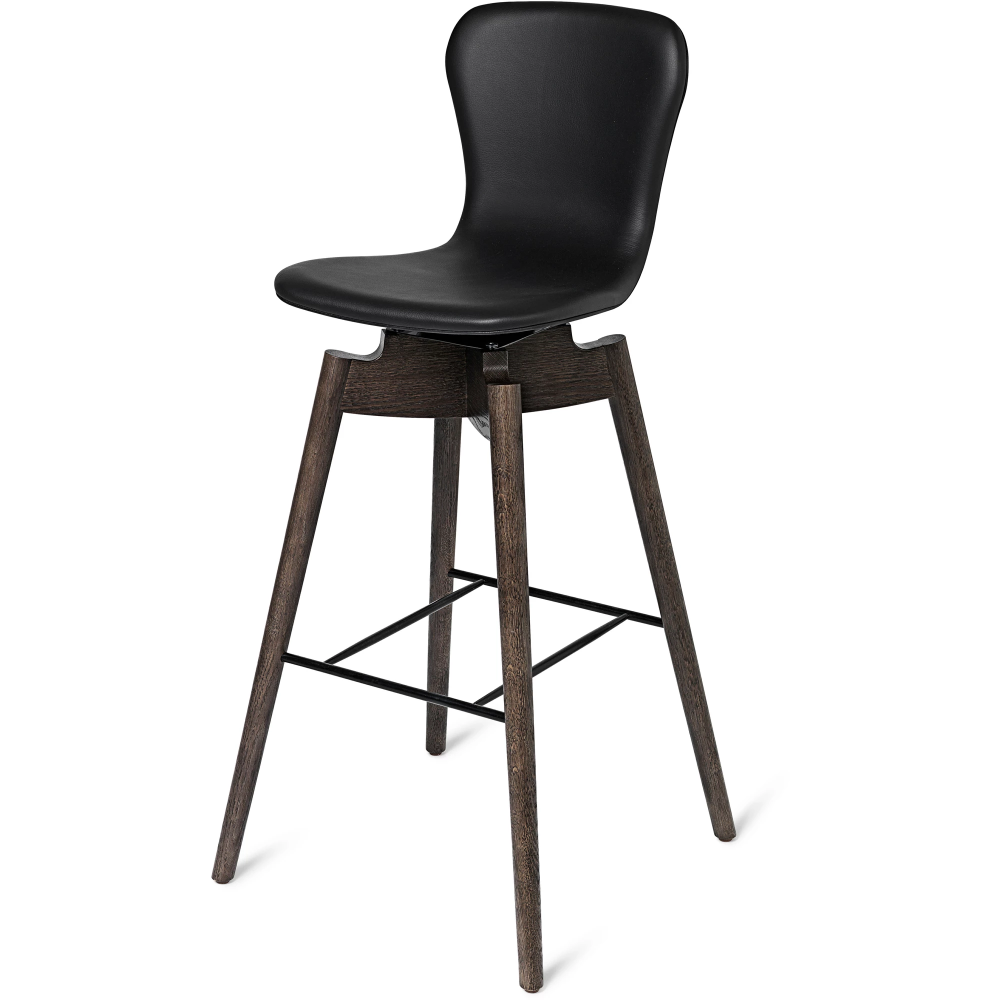 Shell Bar Stool Ultra Black Leather In 2020 Bar Stools Stool Shell Chair