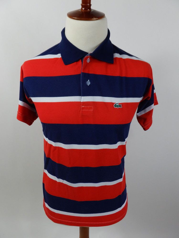 53436795 Lacoste Red White Blue Short Sleeve Stripe Polo Rugby Men Shirt Large L # Lacoste #PoloRugby