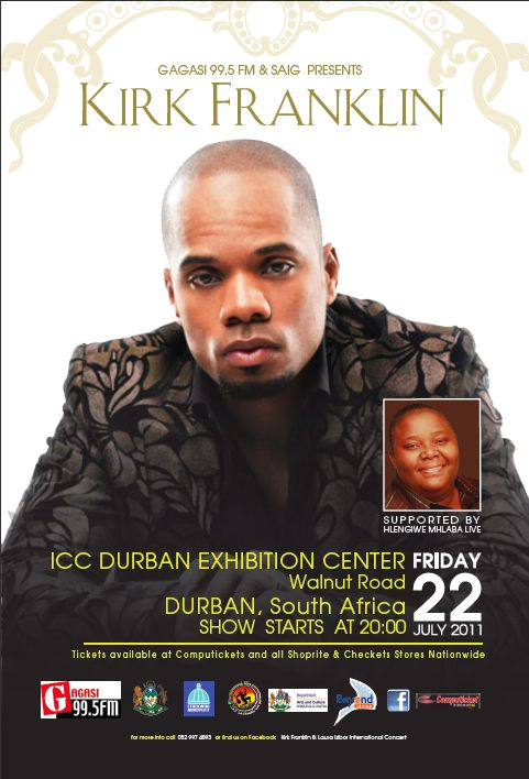 """The music keeps flowing as Kirk Franklin (www.kirkfranklin.com) spreads his amazing musical ministry performing inspirational songs like """"Imagine,"""" """"Brighter Day,"""" """"Stomp,"""" and of course his new single """"Smile."""" Kirk is expected to leave South Africa more inspired than ever with songs from his new album Hello Fear."""