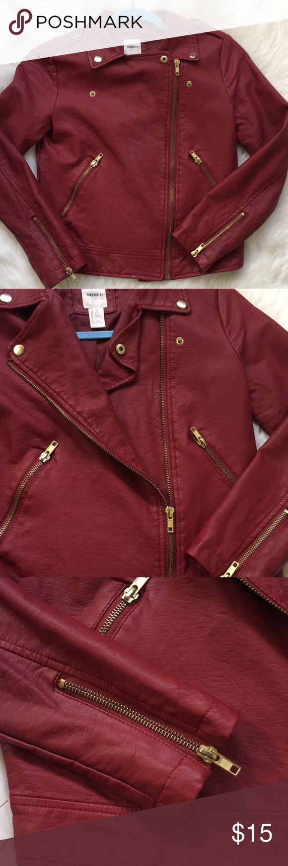 Faux leather jacket Maroon red. Zipper down. Few minor