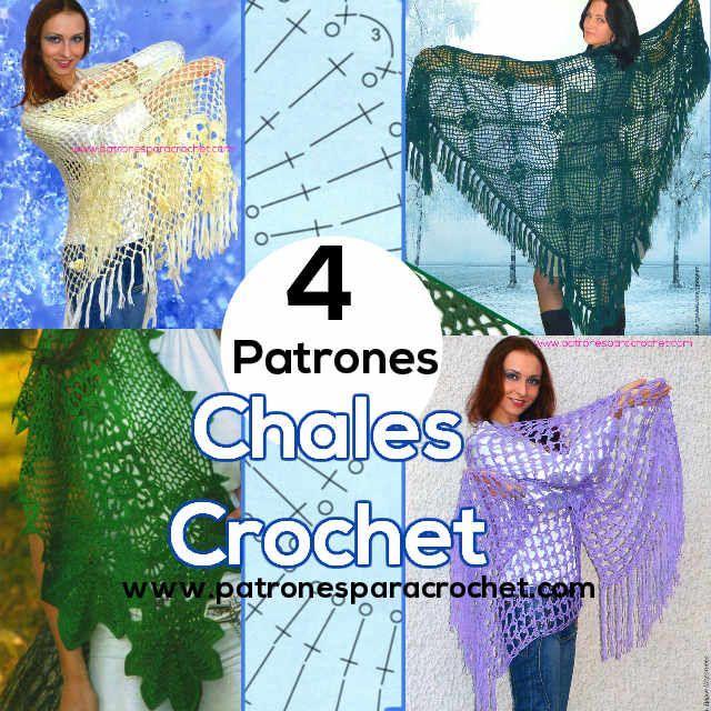4 patrones de chales para tejer al crochet   Crochet y Dos Agujas ...