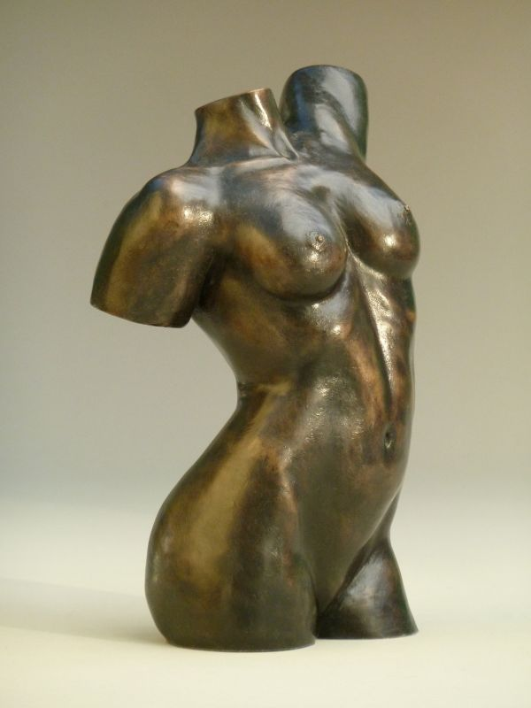 Bronze resin #sculpture by #sculptor Nicholas Collins titled: 'Female Torso (Modern Nude Girl Torso statue)'. #NicholasCollins