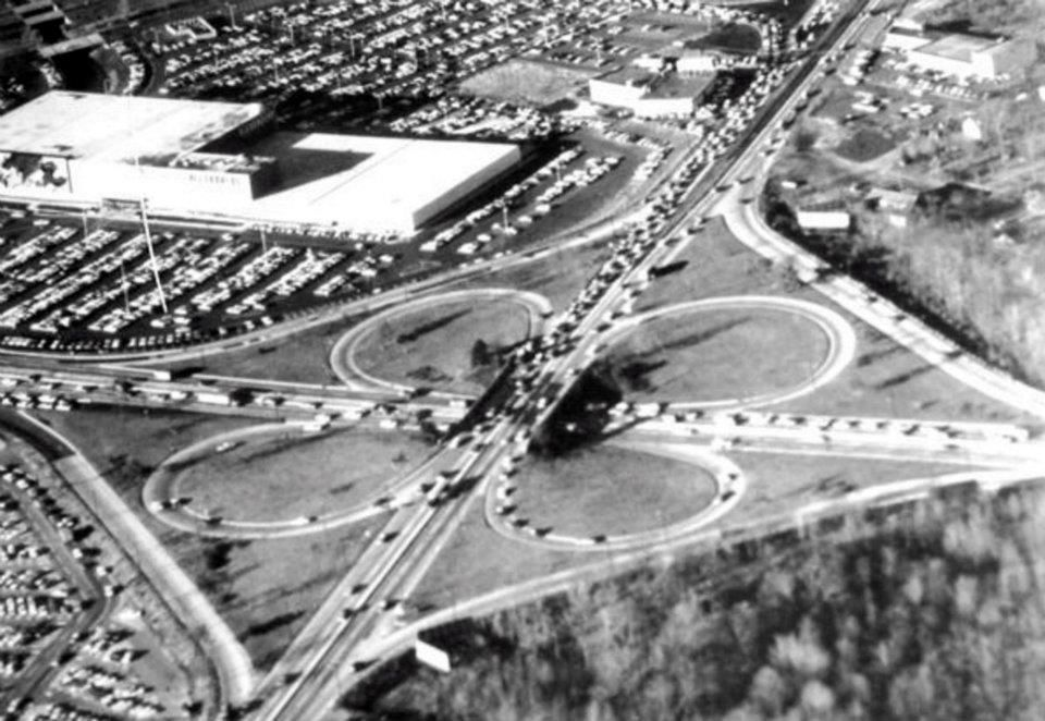 Route 4 and 17 Clover Leaf, Alexanders top left. Paramus