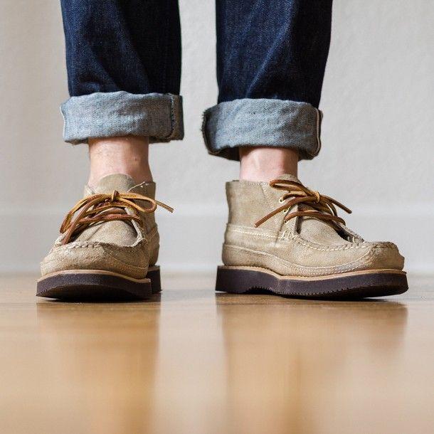 oak street trapper boot - waterproof suede, vibram sole ,waxed stitching. rawhide laces.