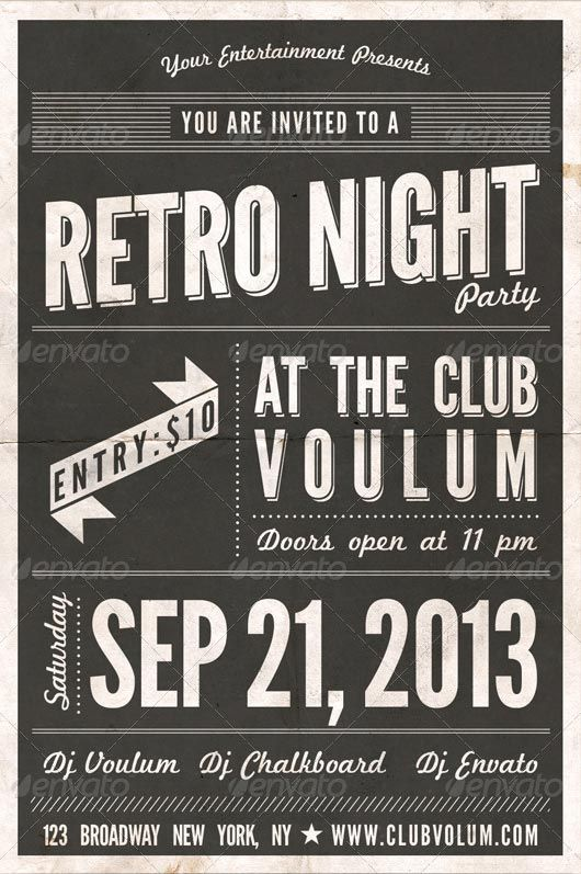 Retro Night Party Flyer Template - Http://Www.Ffflyer.Com/Retro