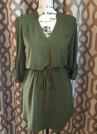 01841bae4a9d Naked Zebra Olive Green 3/4 Sleeve Dress M | Dresses and Skirts ...