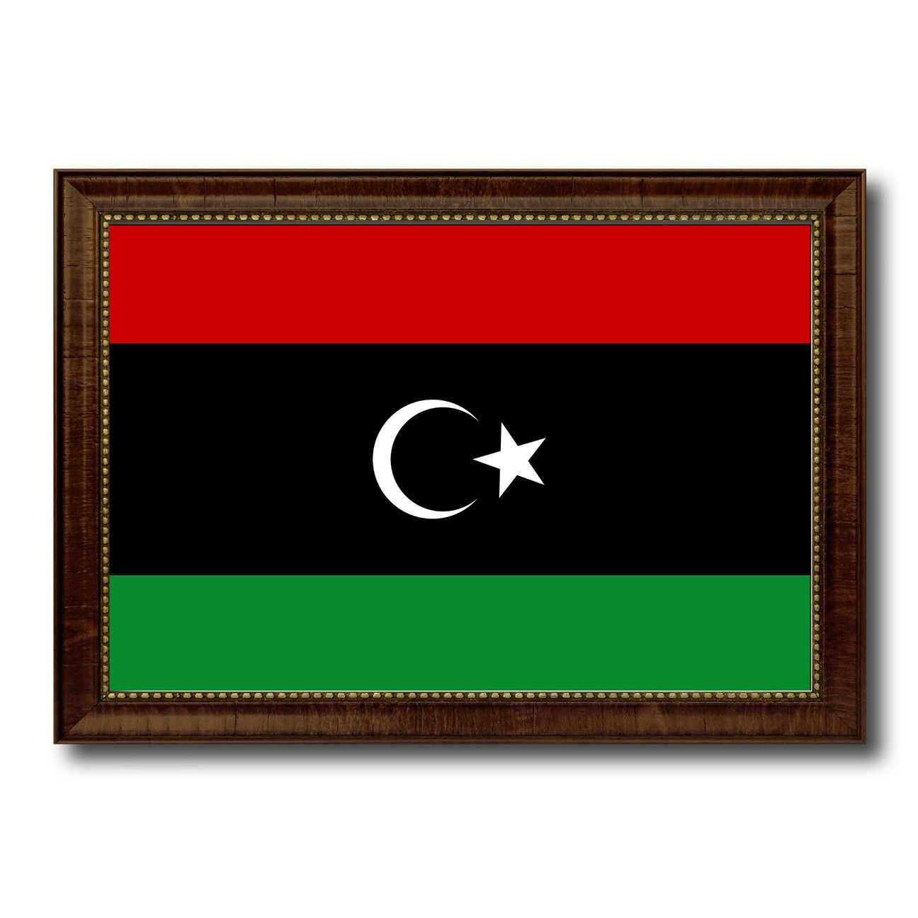 Libya country flag canvas print with brown picture frame home decor