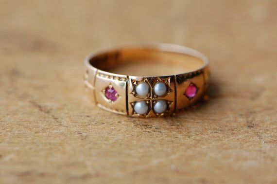 Antique 1880s Victorian 15 carat pearl and ruby dress ring #englishdresses1880