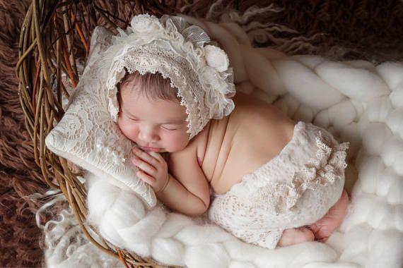 Newborn photo prop set bear bonnet bonnet and rpants newborn romper newborn props newborn prop newborn romper newborn photo props and newborn