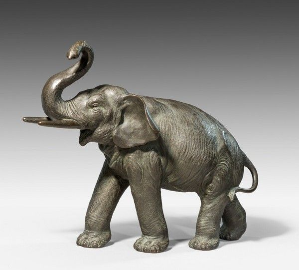 Meiji period bronze elephant, signed