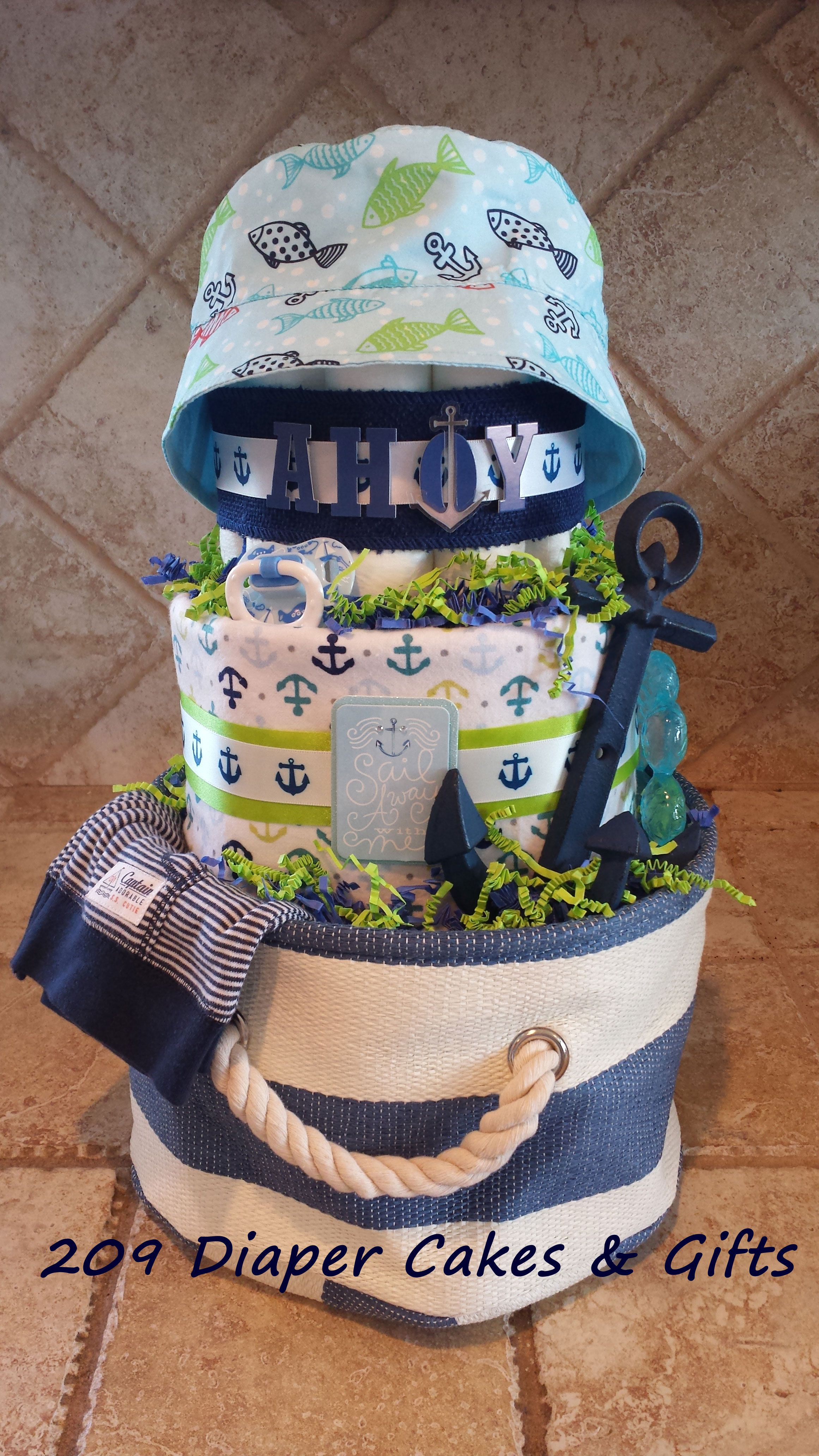Nautical Anchor Diaper Cake For Baby Boy By 209 Diaper