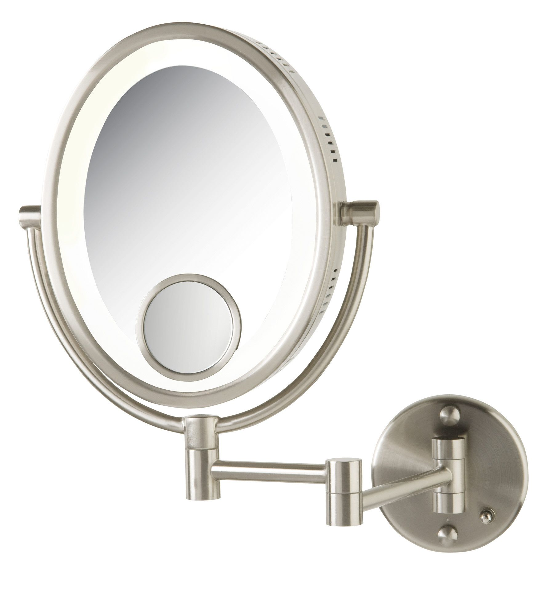 Halo Swinging Lighted Oval Vanity Mirror With Insert In Brushed