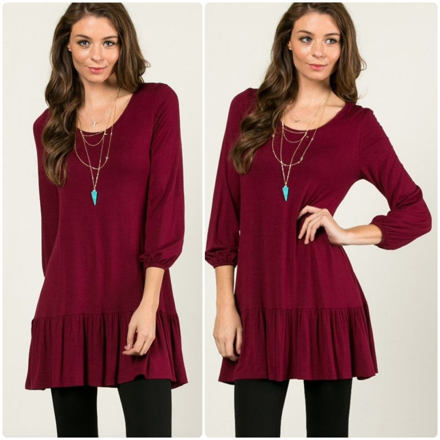 Ruffle bottom tunic tunics ruffles and comfy
