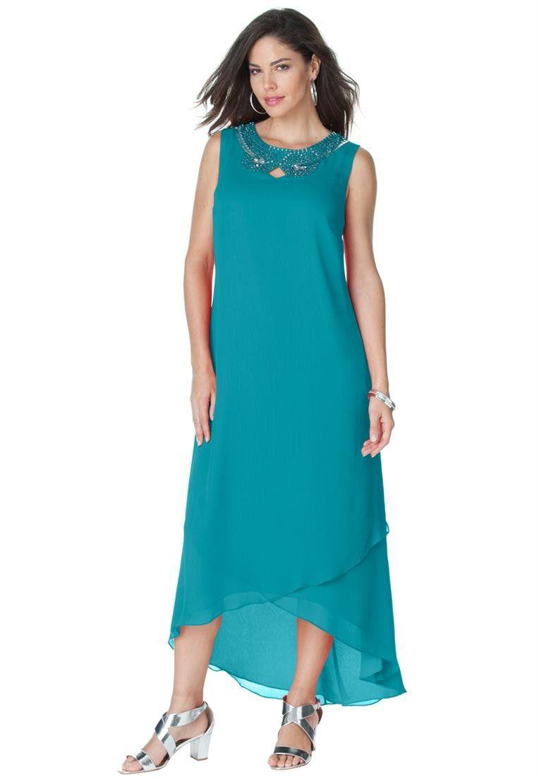 d13eac7311c Roamans Women s Plus Size Embellished Maxi Dress (Paradise Turq