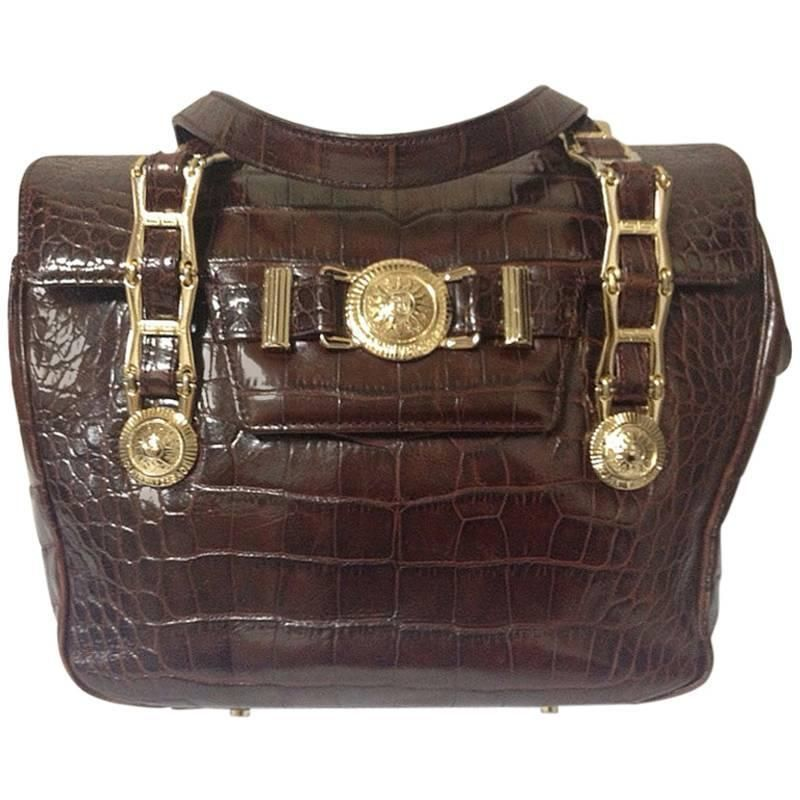 34cb083c2ba4 Vintage Gianni Versace brown croc-embossed leather tote bag with golden  sunburst