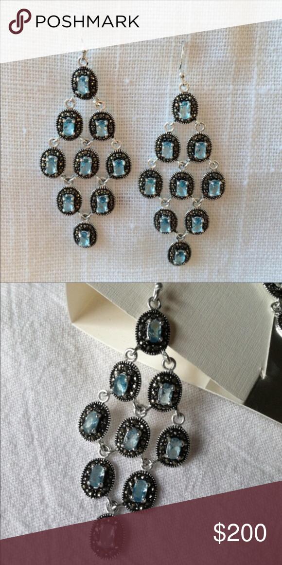 New aqua marcasite sterling chandelier earrings nwt new aqua marcasite sterling chandelier earrings nwt aloadofball Choice Image