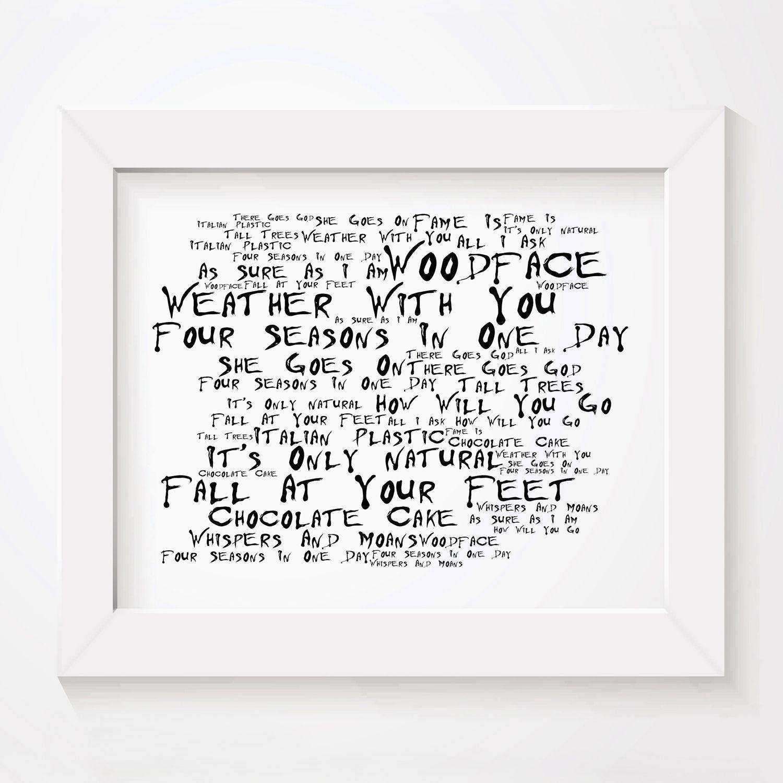 Crowded House Woodface limited edition typography lyrics art print ...