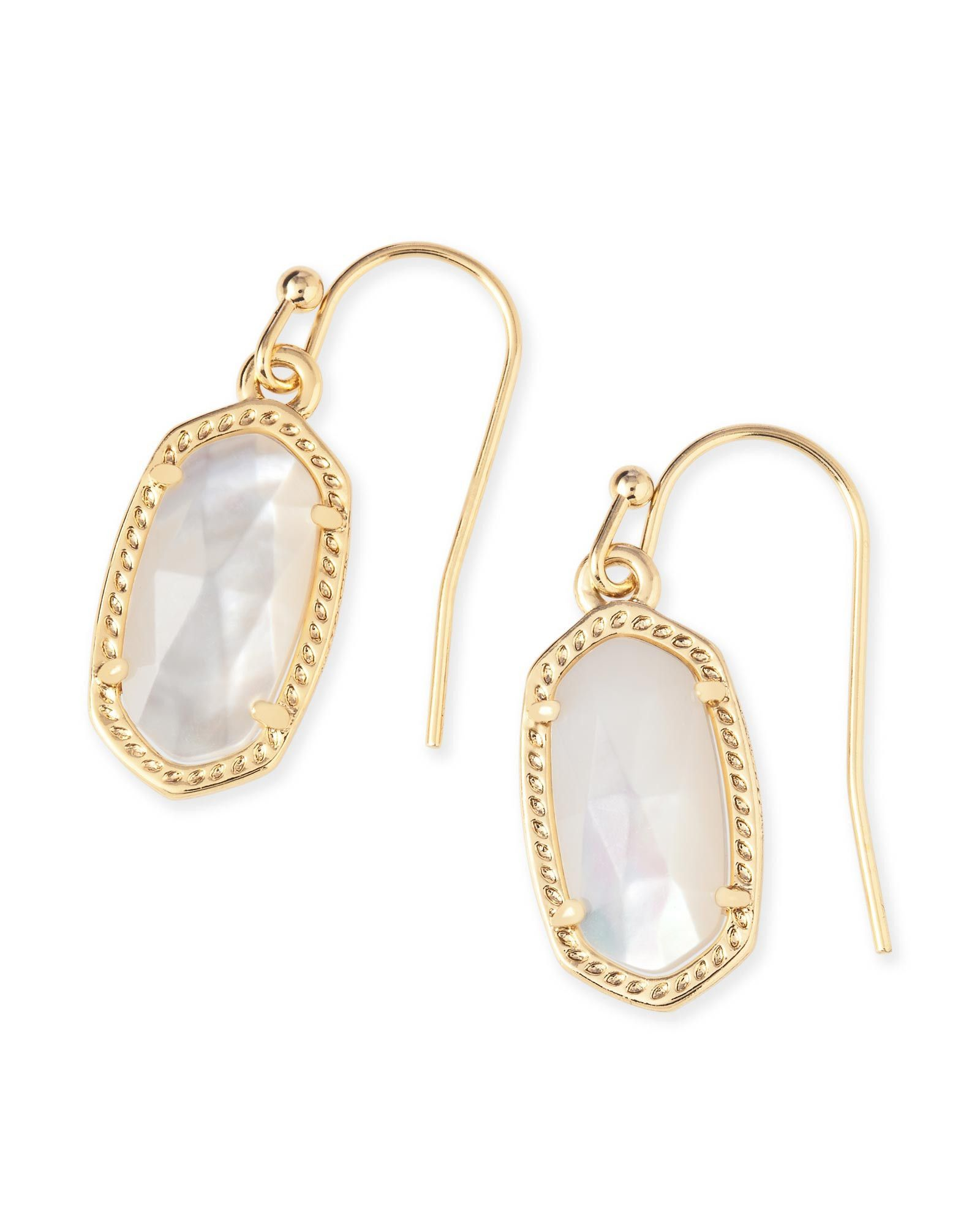 Kendra Scott Lee Ivory Mother of Pearl Gold Drop Earrings