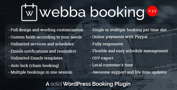 Webba Booking - WordPress Appointment Plugin Code-Scripts-and - reservation forms in pdf