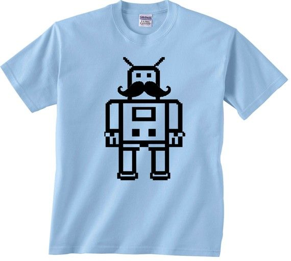 robot with mustache t-shirt
