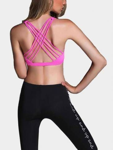 e1dc291916 High Impact Burgundy Cut Out with Phone Pocket Sports Bra - US 17.95 -YOINS.  Magenta Criss-cross Design Sports Bra with Padded chest