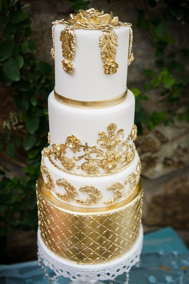 Metallic Gold And White Wedding Cake By Sedona Couture Aren T The Intricate