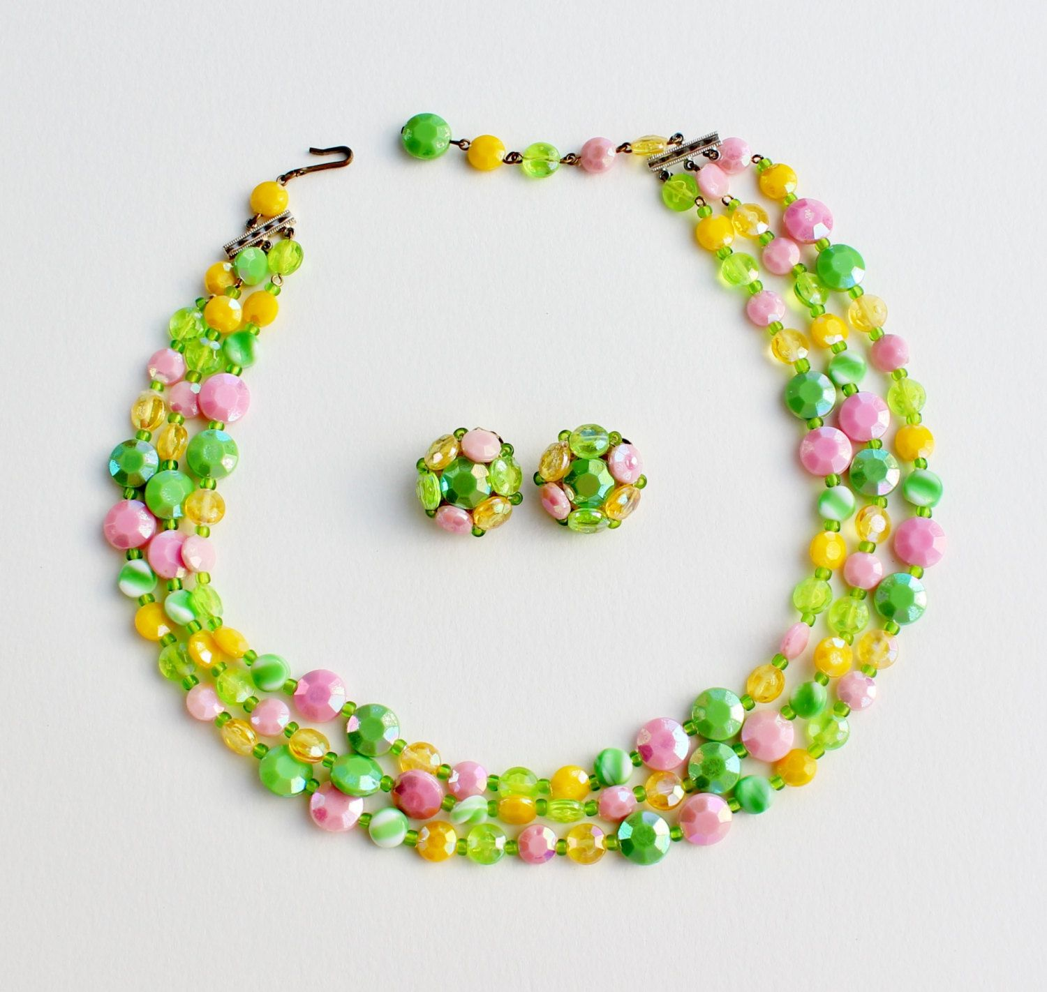 Vintage West Germany Demi Parure Set Fruit Salad Yellow Pink Green Aurora Borealis Multi Strand Beaded Necklace Clip On Cluster Earrings by ThePaisleyUnicorn on Etsy