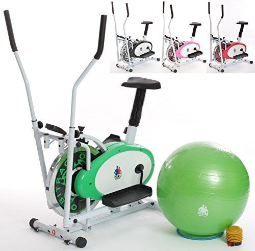 Gym Master 2016 - 2 in 1 Elliptical Exercise Bike & Cross Trainer w/Seat and 7kg Steel Flywheel + Gym Ball & Pump + 1 Year Warranty (Green)
