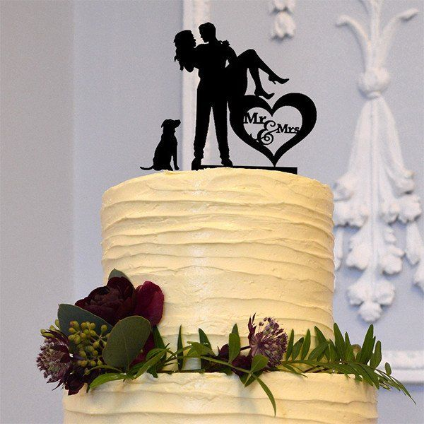 Cake Topper for Engagement &Wedding (Dog Pet Puppy /Bridal Carry ...