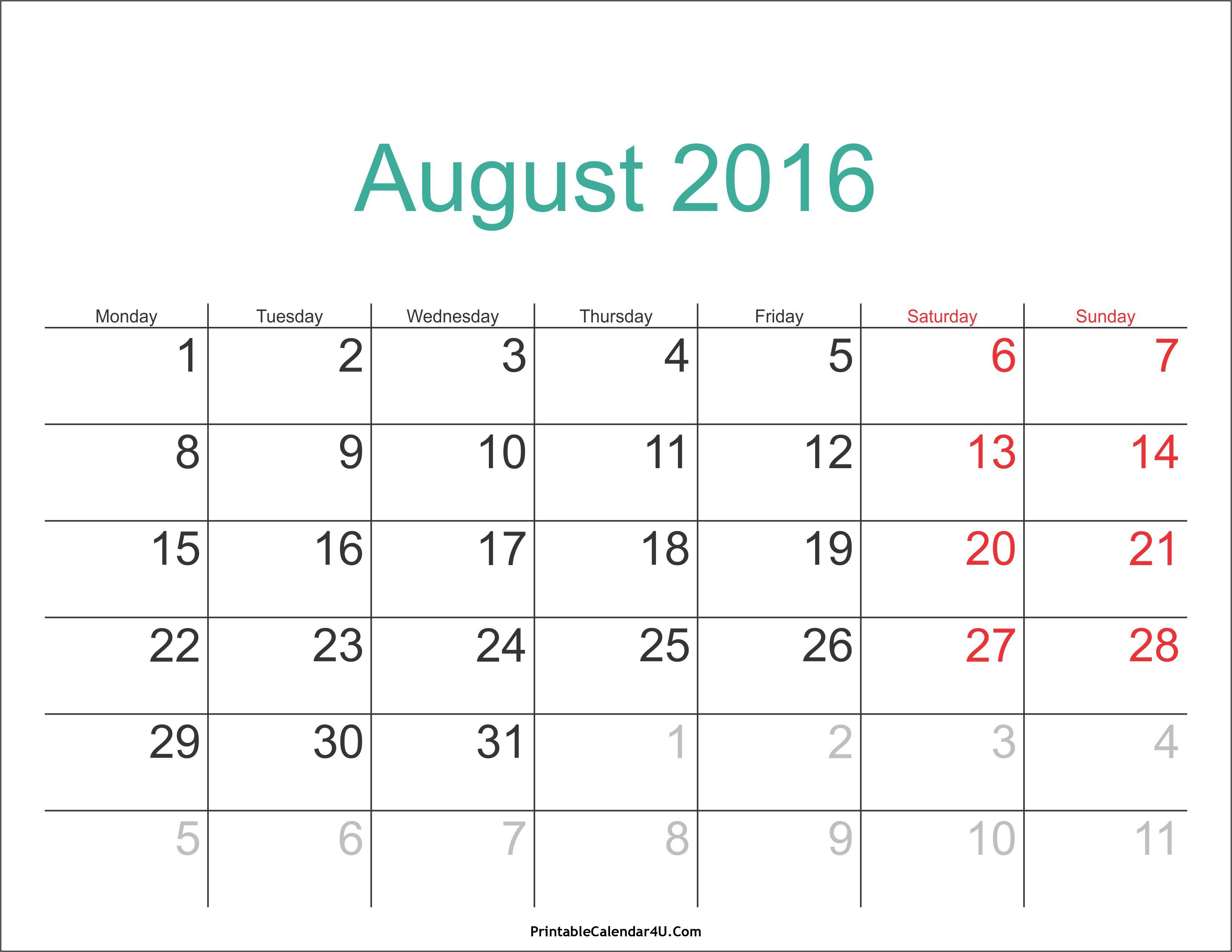 August 2016 Calendar | Calendar word, November calendar, 2018