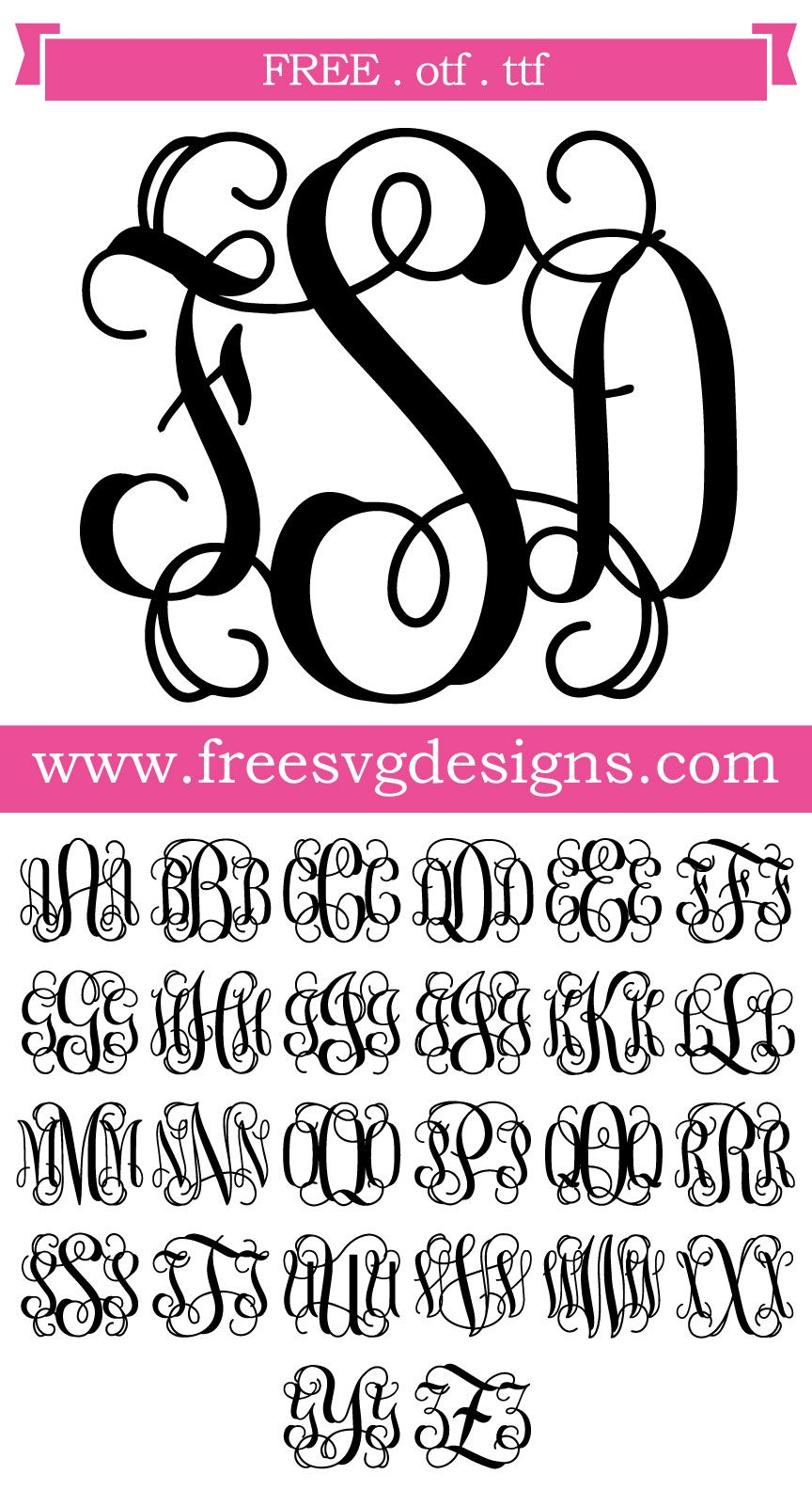 Download Script Vine Monogram Font 138   Cricut monogram font, Free ...