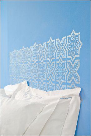 Fresh Blue And Glints Of Patterned Silver Combine To Make A Simple Moroccan  Inspired Bedroom