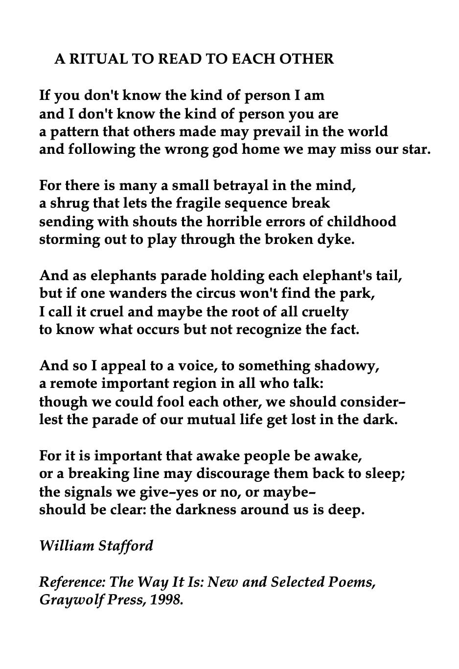 William Stafford American Poet Good Bone Poem Poetry Words The Dawn Awake Explanation