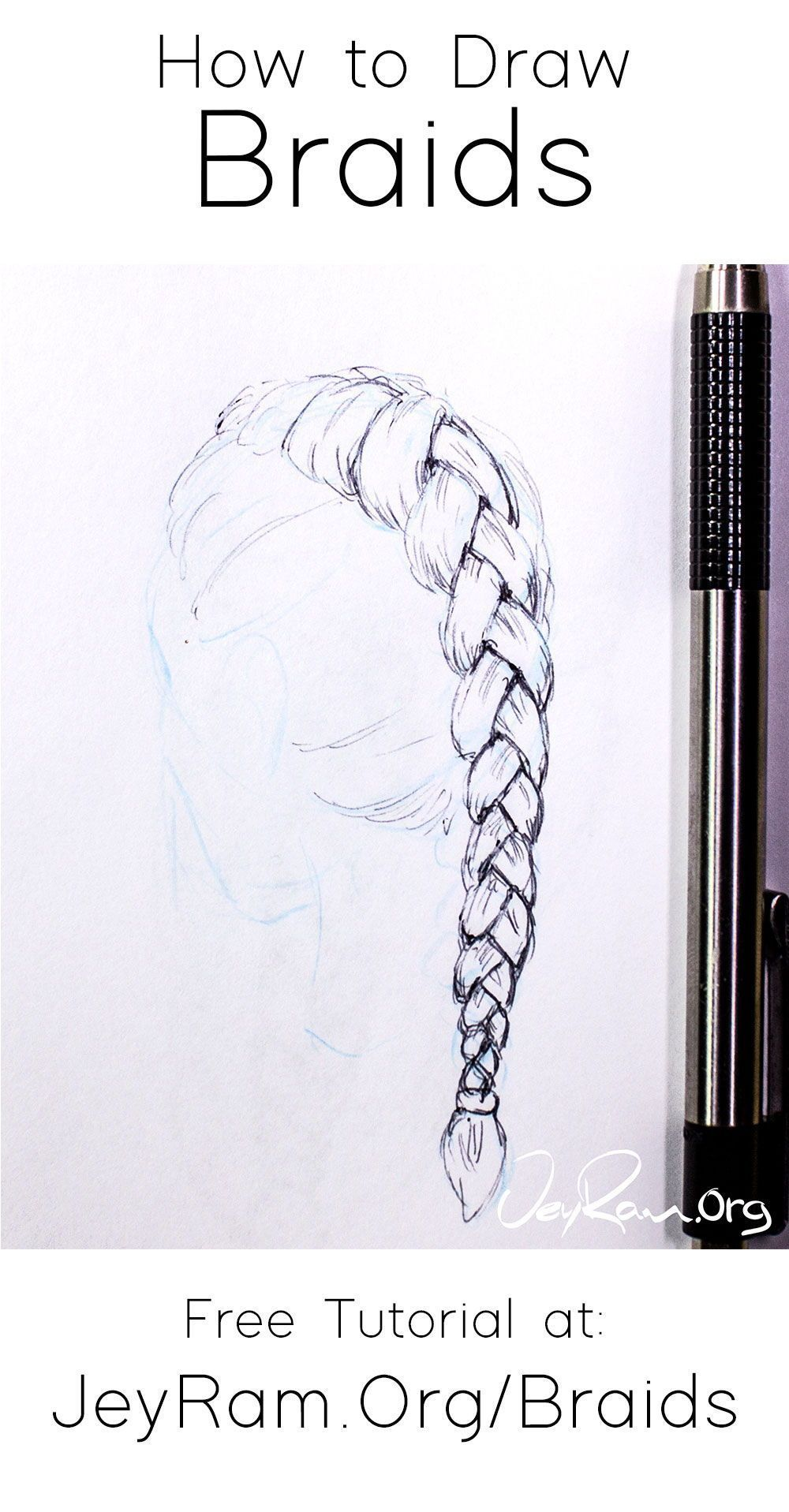 Learn how to draw braids from any angle and on the head