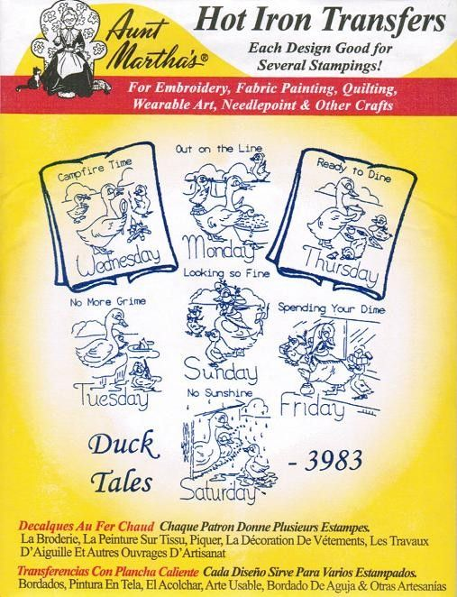 New Duck Tales Aunt Martha\'s Embroidery Transfer Designs Pattern ...