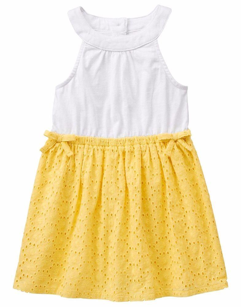 46fedcc73a39b NWT Gymboree FRUIT PUNCH White Yellow Eyelet Bow Sleeveless Dress 6-12M 2T  4T 5T #Gymboree #140154763GYM001 #EverydayCasualParty