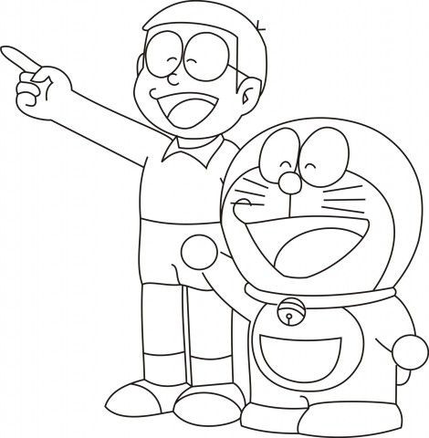 Doraemon With Nobita Colouring Pages Freen Download Easy Cartoon