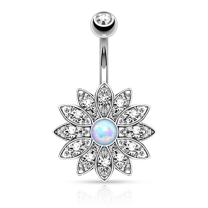 Opal Belly Piercing Bar Navel Ring Button Jewelled Surgical Steel Body Jewelry