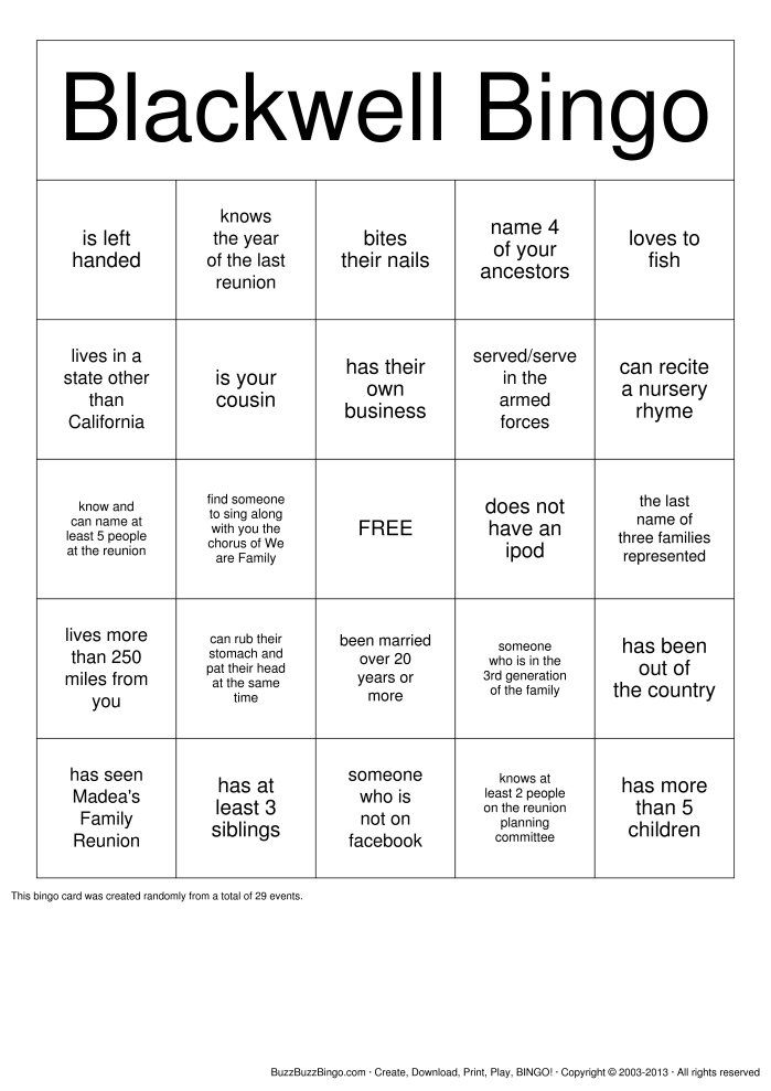 Blackwell Family Reunion Bingo Cards To Download Print And Customize Family Reunion Games Family Reunion Bingo Family Reunion Activities