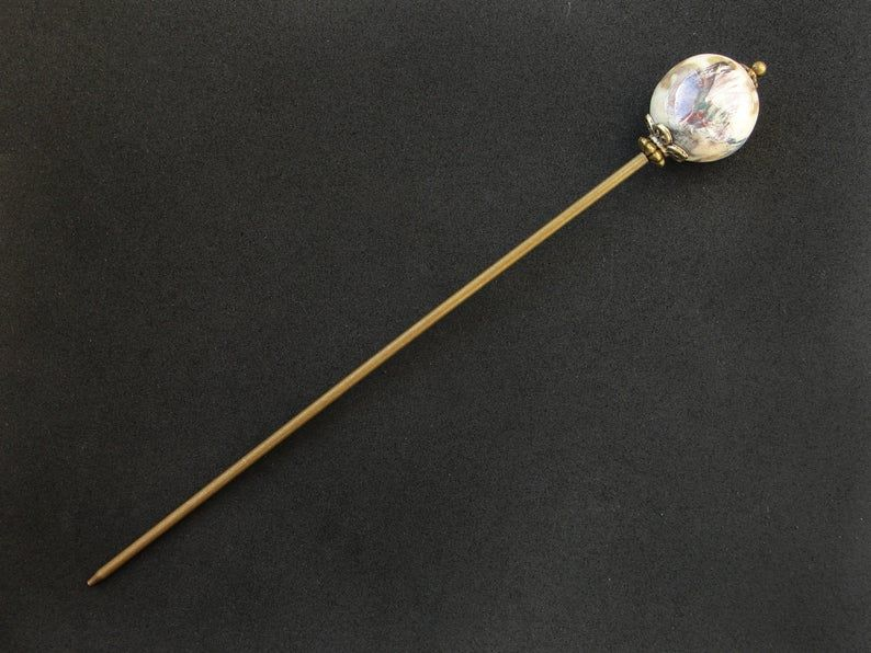 Agate tama kanzashi hairpin asian pick japanese hair stick geisha hair piece orient jewellery blue hair slide ornament bun decoration