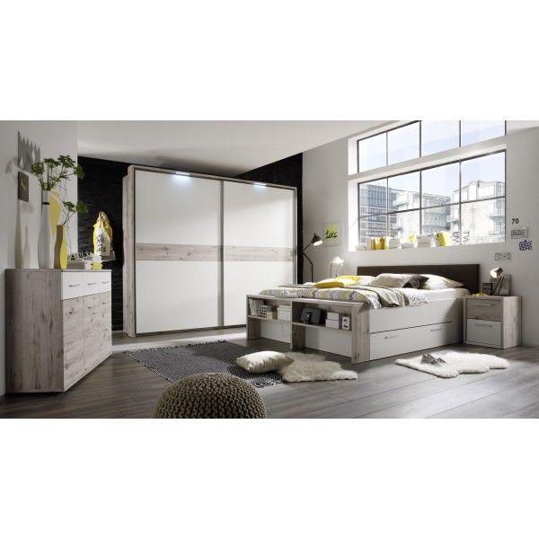 Schlafzimmer mit Bett 180 x 200 cm Sandeiche/ weiss Woody 62-00163 - Schlafzimmer Landhausstil Weiß
