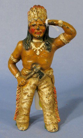 Lot: 166: Hubley Indian Cast Iron Penny Bank , Lot Number: 0166, Starting Bid: $20, Auctioneer: Tom Harris Auctions, Auction: Antique & Collectible Toy Auction, Date: April 2nd, 2009 CDT