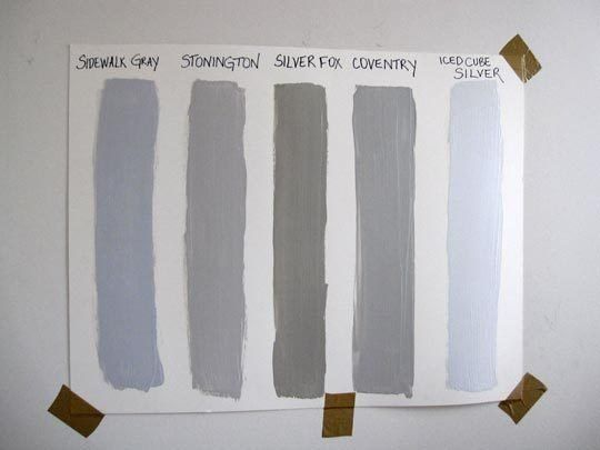 Diy Painting Testing Benjamin Moore Gray Samples Silver Foxes Ice Cubes And Bluish Gray