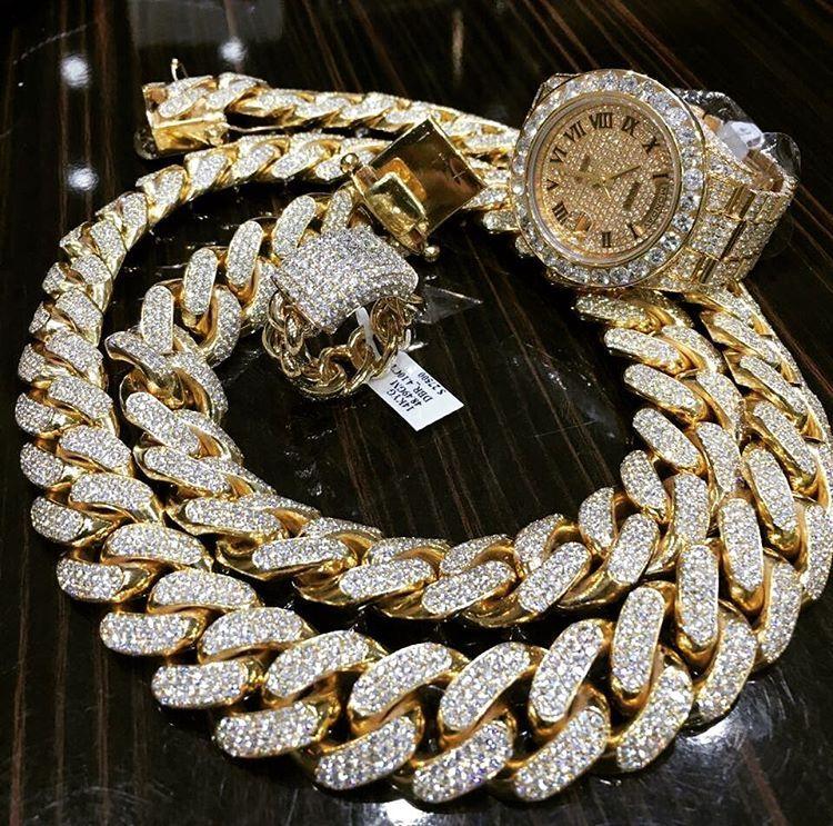 14K Cadena De Oro Iced Cubano Miami Micropave Brillante Diamante Pulsera de hombre 2019