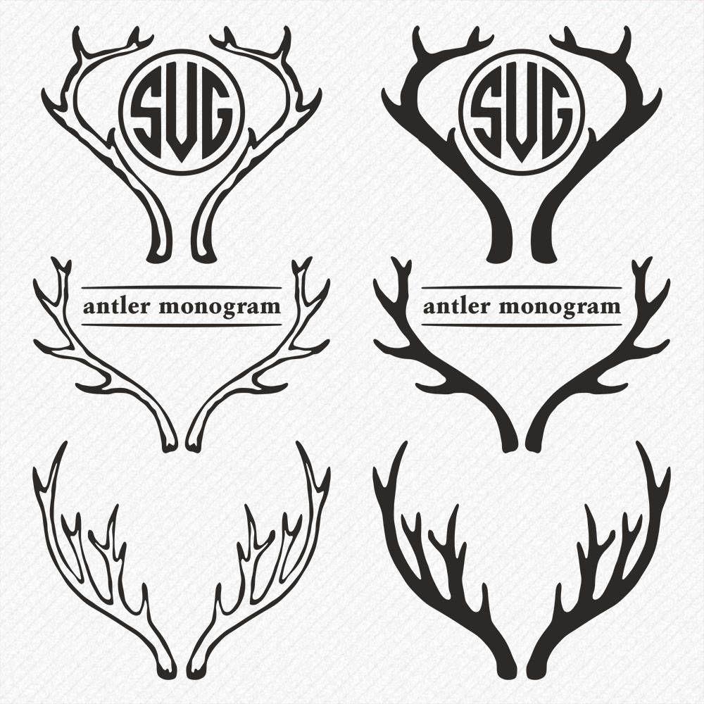 Аntler MONOGRAM svg, Deer Monogram, Deer antler svg